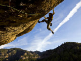 Climber Tackles Difficult Route on Overhang at the Cliffs of Margalef  Catalunya