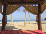 Four Poster Sunlounger on Jumeirah Beach and the Burj Al Arab Hotel  Jumeirah Beach
