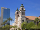 St Mary&#39;s Basilica and Chase Tower  Phoenix  Arizona  United States of America  North America