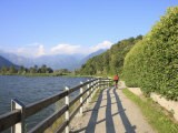 Man Bikes Along Path at Lake's Edge  Lake Como  Italian Lakes  Lombardy  Italy  Europe