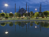 Blue Mosque in Evening  Reflected in Pond  Sultanahmet Square  Istanbul  Turkey  Europe