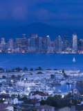 California  San Diego  City and Shelter Island Yacht Basin from Point Loma  Dusk  USA