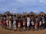 Men Hold Hands Forming a Circle Within Which the Women Dance in the Karo Village of Duss Ethiopia