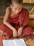 Burma  Lake Inle  A Young Novice Monk Learning at a Monastery School on Lake Inle  Myanmar