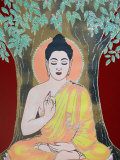 Thangka Painting of the Buddha Giving a Blessing  Kathmandu  Nepal  Asia