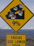 Bullet Holes in Road Sign  Pinedale  Wyoming  United States of America  North America