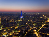 Eiffel Tower Lit in Blue  Paris at Night
