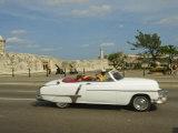 Havana  Classic Vintage American Car Driving on the Malecon  Havana  Cuba