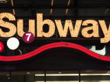 Neon Subway Sign  Times Square  Manhattan  New York City  United States of America  North America