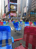 Garden Chairs in the Road for the Public to Sit in the Pedestrian Zone of Times Square  Manhattan