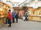 Shoppers at Christmas Stalls of Stern Advent Markt Market  Salzburg  Austria  Europe
