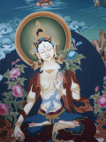 Thangka Depicting White Tara Goddess  Buddhist Symbol of Long Life  Bhaktapur  Nepal  Asia