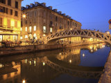 Naviglio Grande at Dusk  Milan  Lombardy  Italy  Europe