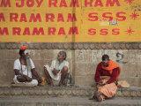 Sadhus  Ghats  Varanasi  Uttar Pradesh  India  Asia