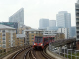 Docklands Light Railways Looking Towards Canary Wharf  London  England  United Kingdom  Europe
