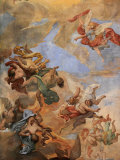Ceiling Fresco in St Ambrose and St Charles Basilica  Rome  Lazio  Italy  Europe