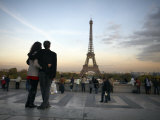 Couple Look Towards the Eiffel Tower  Paris  France  Europe