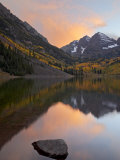 Maroon Bells with Fall Colors During a Clearing Storm in the Evening  White River National Forest