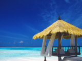 Jetty with Straw Roof  Maldives  Indian Ocean  Asia