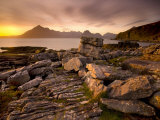 Sunset View over Rocky Foreshore to the Cuillin Hills from Elgol  Isle of Skye  Highland