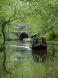 Narrow Boat Cruising the Llangollen Canal  England  United Kingdom  Europe