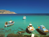 Fishiing Boats and Man Snorkelling at Anopi Beach  Karpathos  Dodecanese  Greek Islands  Greece