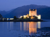 Eilean Donan Castle Floodlit at Night on Loch Duich  Near Kyle of Lochalsh  Highland