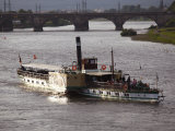 Paddlesteamer Cruise Ship on River Elbe  Dresden  Saxony  Germany  Europe