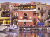 Rethymnon Old Port and Restaurants  Crete Island  Greek Islands  Greece  Europe