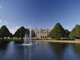 Lake  Fountain and Ornamental Trees in Hampton Court Palace Grounds  Near London