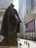 Statue of George Washington in Front of Federal Hall  with the New York Stock Exchange Behind