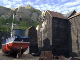 Fishing Boat and Historic Buildings with Hastings Castle in the Background