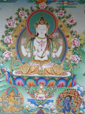 Painting of Avalokitesvara  the Buddha of Compassion  Kathmandu  Nepal  Asia