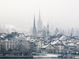 The Town of Zug on a Misty Winter's Day  Switzerland  Europe