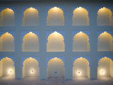 Wall with Arches Lit  One Light Bulb Missing  Jaipur  Rajasthan  India  Asia