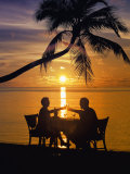 Couple Having Dinner at the Beach  Toasting Glasses  Maldives  Indian Ocean  Asia