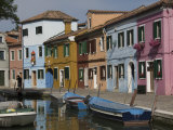 Pastel Coloured Houses by a Canal in Burano  Venetian Lagoon  Venice  Veneto  Italy  Europe