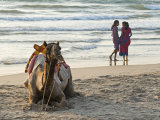 Two Girls on Beach at Dusk  Camel Waiting  Ganpatipule  Karnataka  India  Asia