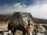 Climber Tackles a Difficult Boulder Problem on the Glacial Moraine at Tangnag