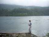 Man  30 Years Old  Fishes on Ross Lake  North Cascades National Park  Washington