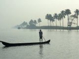 Canoe at Dawn on Backwaters  Alleppey District  Kerala  India  Asia