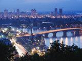 Lights Illuminating Podil District and Dnieper River Area at Night  Kiev  Ukraine  Europe