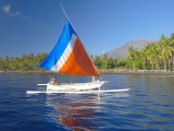 Local Fisherman on a Traditional Outrigger Boat  Bali  Indonesia  Southeast Asia  Asia