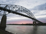 Sunset over Sagamore Bridge  Cape Cod Canal  Cape Cod  Massachussets  New England