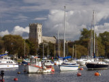 Christchurch Priory and River Stour  Dorset  England  United Kingdom  Europe