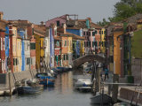 Pastel Coloured Houses Alongside a Canal in Burano  Venetian Lagoon  Venice  Veneto