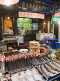 Barbeque Food at a Street Market in the Muslim Area of Xian  Shaanxi Province  China  Asia