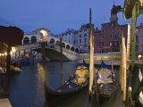 Gondolas Moored on the Grand Canal at Riva Del Vin  with Rialto Bridge Behind  Venice  Veneto