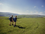 Couple Walking on the Dalesway Long Distance Footpath  Near Kettlewell  Yorkshire