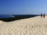 Couple Walking on the Dunes Du Pyla  Bay of Arcachon  Cote D'Argent  Aquitaine  France  Europe